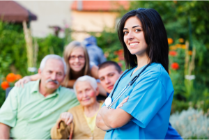 caregiver with the patients family